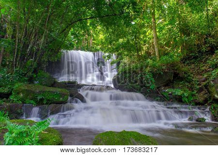 Beautiful Waterfall In Rainforest At Phu Tub Berk Mountain  Phetchabun, Thailand (mun Dang Waterfall