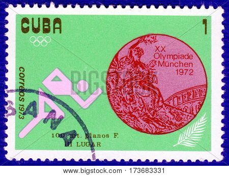 CUBA - CIRCA 1973: Postage stamp printed in Cuba with a picture of a athlete runner, with the inscription