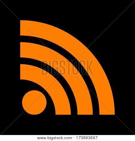 RSS sign illustration. Orange icon on black background. Old phosphor monitor. CRT.