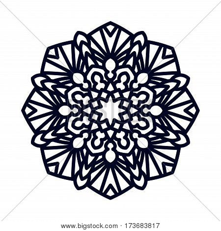 Mandala. Indian wedding meditation. Buddhist medallion. It can be used for tattoo prints on t-shirts, design and ad restaurants. For postcards design wedding invitations, photo overlays.