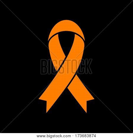 Black awareness ribbon sign. Orange icon on black background. Old phosphor monitor. CRT.