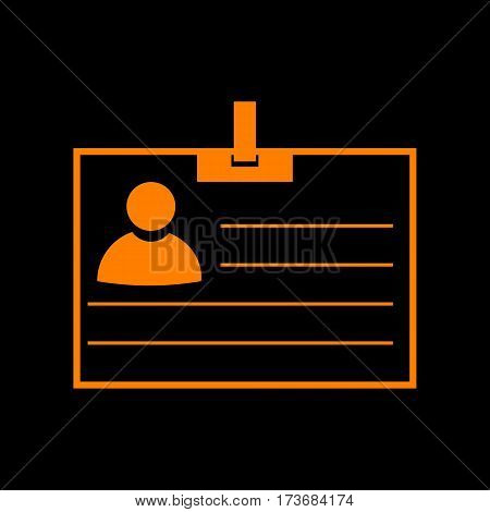 Id card sign. Orange icon on black background. Old phosphor monitor. CRT.