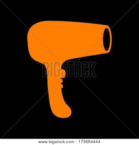 Hair Dryer sign. Orange icon on black background. Old phosphor monitor. CRT.