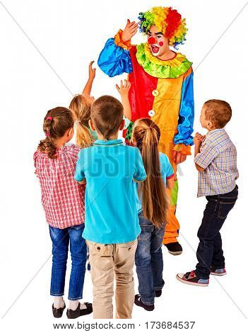 Childrens party entertainers. Birthday child clown playing with children. Kid holiday cakes celebratory in hands of events organizer man. Fun of group people pose for camera on white background.