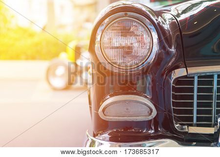 Classic Car With Close-up On Headlights Or Headlight Lamp Of Retro  Car Vintage Style