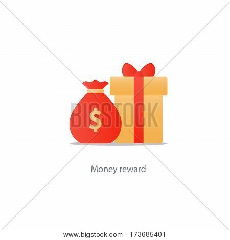 Reward gift box icon, bonus money concept, sale discount program, win points vector illustration