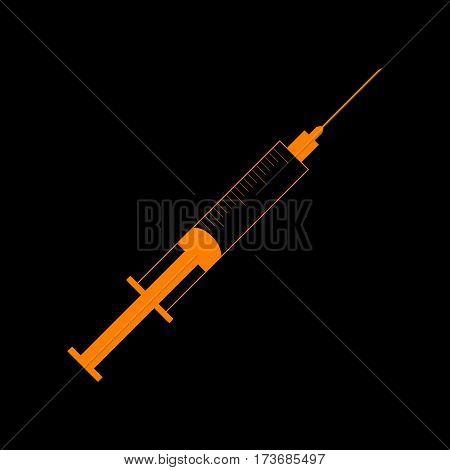 Syringe sign illustration. Orange icon on black background. Old phosphor monitor. CRT.