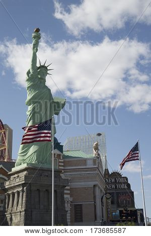 LAS VEGAS, NEVADA - MAY 11, 2014: Replica of Statue of Liberty and New York New York hotel and casino in Las Vegas. Las Vegas is one of the top tourist destinations in the world