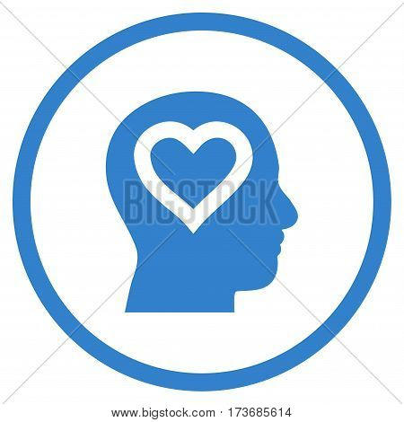 Love In Head rounded icon. Vector illustration style is flat iconic symbol inside circle cobalt color white background.