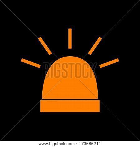 Police single sign. Orange icon on black background. Old phosphor monitor. CRT.