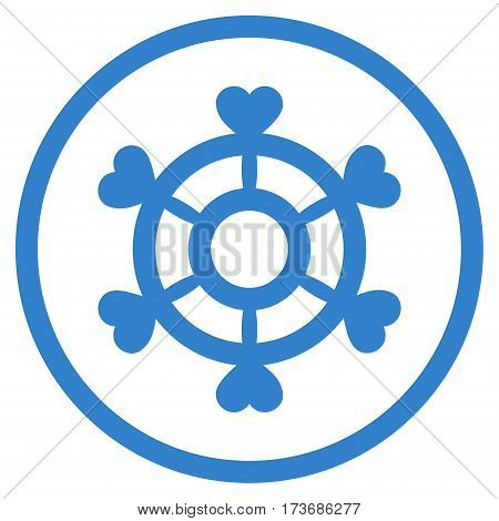 Lovely Boat Steering Wheel rounded icon. Vector illustration style is flat iconic symbol inside circle cobalt color white background.