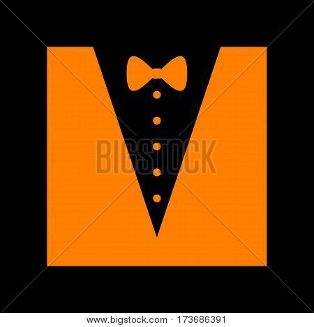 Tuxedo with bow silhouette. Orange icon on black background. Old phosphor monitor. CRT.