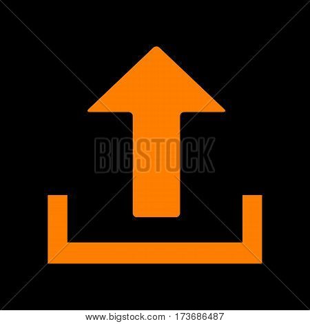 Upload sign illustration. Orange icon on black background. Old phosphor monitor. CRT.