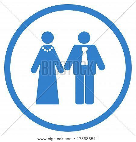 Newlyweds rounded icon. Vector illustration style is flat iconic symbol inside circle cobalt color white background.