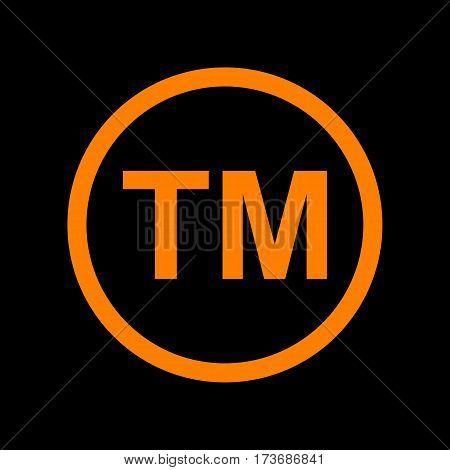 Trade mark sign. Orange icon on black background. Old phosphor monitor. CRT.