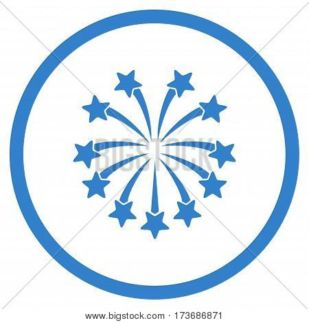 Spherical Fireworks rounded icon. Vector illustration style is flat iconic symbol inside circle cobalt color white background.