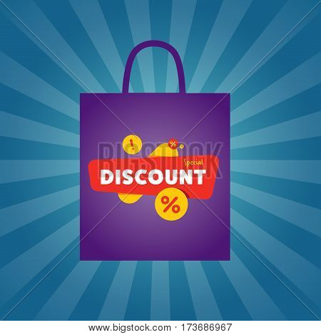 Special discount sticker on package isolated vector illustration. Limited offer tag, price discount promo, super sale ad, advertisement retail label, special shopping symbol. Modern style sale sign.