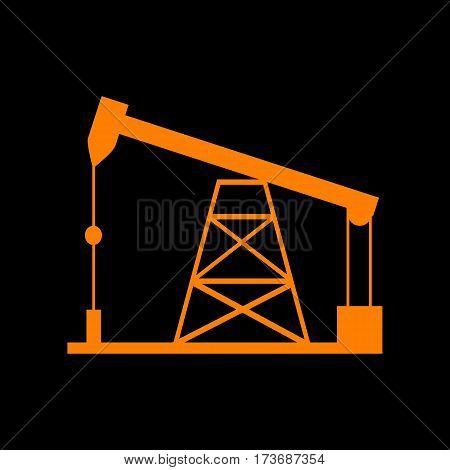 Oil drilling rig sign. Orange icon on black background. Old phosphor monitor. CRT.