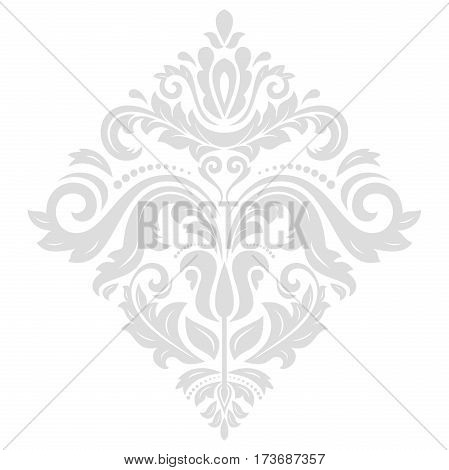 Oriental vector square light silver pattern with arabesques and floral elements. Traditional classic ornament. Vintage pattern with arabesques