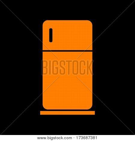 Refrigerator sign illustration. Orange icon on black background. Old phosphor monitor. CRT.
