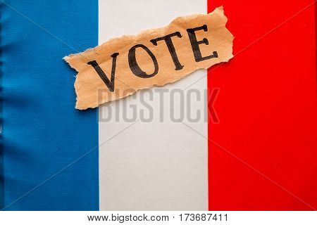 Elections in France.  Vote,  inscription on torn paper sheet. Voting concept