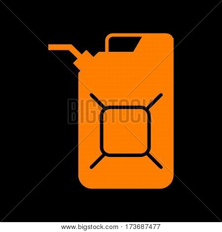 Jerrycan oil sign. Jerry can oil sign. Orange icon on black background. Old phosphor monitor. CRT.