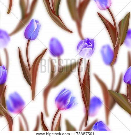 Floral seamless pattern. Realistic tulips with blurred tulips background. Watercolor imitation. Not trace. Vector seamless background. Blue tulips with brown leaves.