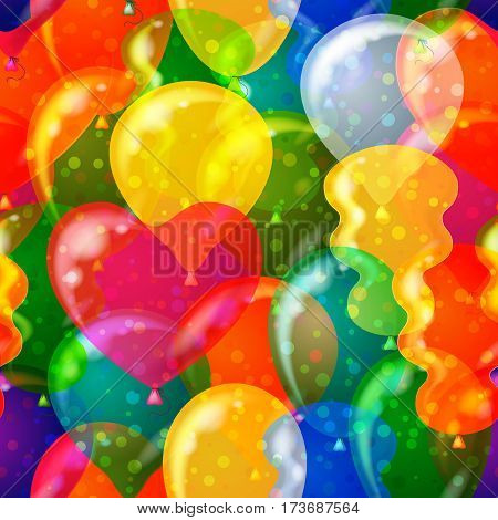 Seamless Pattern, Tile Background with Beautiful Flying Colorful Balloons, Valentine Holiday Heart and Other Forms. Eps10, Contains Transparencies. Vector