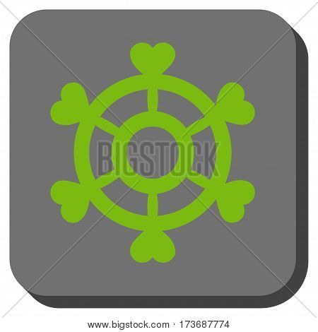 Lovely Boat Steering Wheel interface toolbar icon. Vector pictograph style is a flat symbol on a rounded square button light green and gray colors.