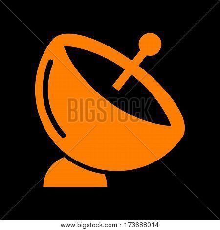 Satellite dish sign. Orange icon on black background. Old phosphor monitor. CRT.
