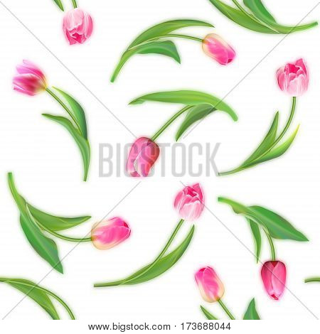 Realistic tulips vector seamless pattern, Repeating surface pattern with beautiful realistic vector tulips for all web and print purposes. Not trace.
