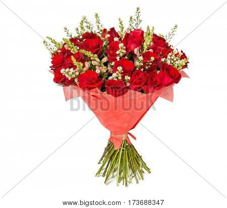 Colorful flower bouquet from red roses on white background