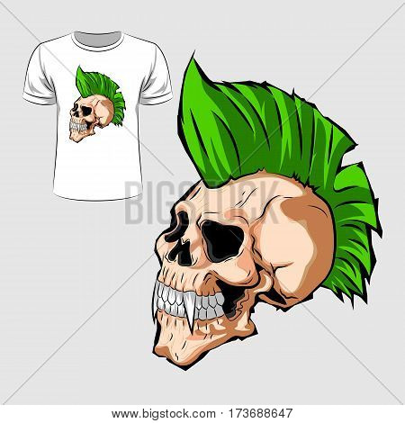 Abstract graphic design of punk skull for t-shirt or banner print. Vector illustration