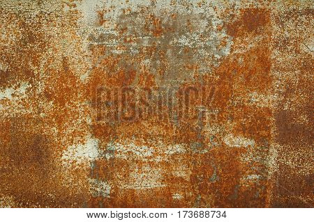 Texture of old rusty iron, sheet of metal close-up. Old rust eroded metal iron decay horizontal background