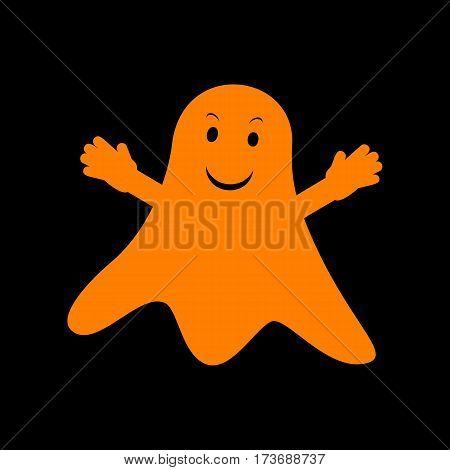Ghost isolated sign. Orange icon on black background. Old phosphor monitor. CRT.