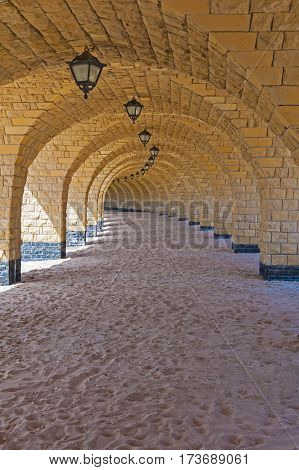 Tunnel Of Arches On A Tropical Beach
