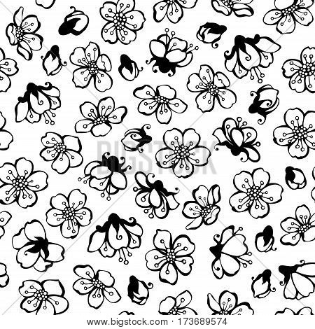 Vector Doodles Seamless Pattern Of Spring Flowers.