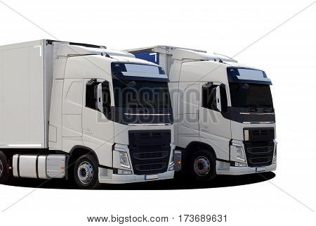 two large truck with semi trailer on a white background