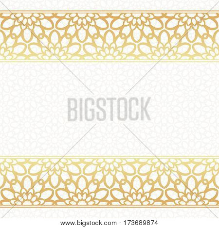 Invitation card vector template. Lacy background with golden borders.