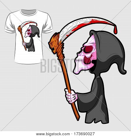 Abstract graphic design of skeleton with sword for t-shirt or banner print. Vector illustration
