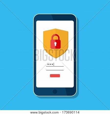 Data protection, internet security concept, infographic. Network secure. Vector shield, lock,  mobile phone screen isolated on blue. Padlock, login, password. Flat design template for website