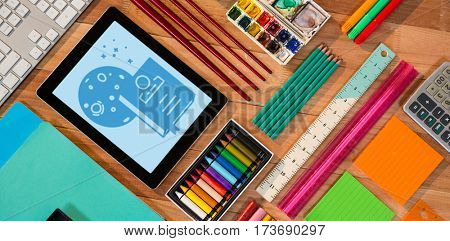 Print against digital tablet with various stationery