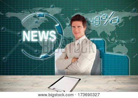 Confident businessman standing at the camera against white 3D