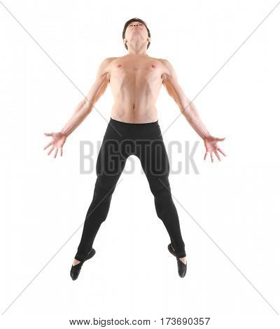 Handsome young ballet dancer on white background
