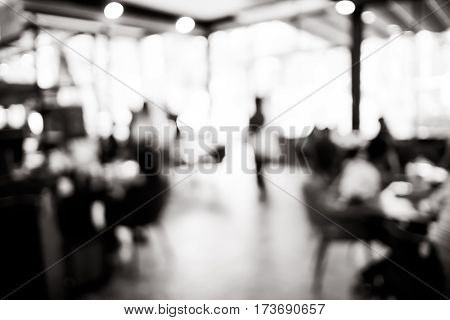 Blurred Background : Black And White Filter ,customer In Coffee Shop Blur Background With Bokeh