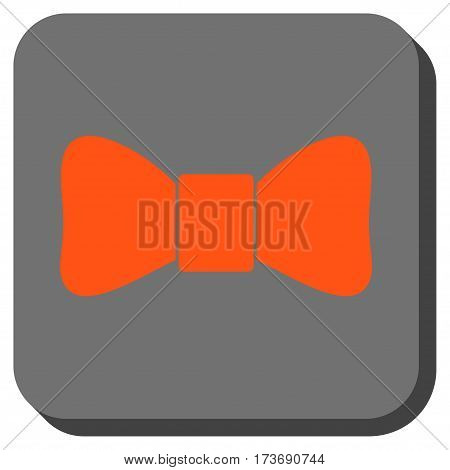 Bow Tie interface icon. Vector pictogram style is a flat symbol inside a rounded square button orange and gray colors.