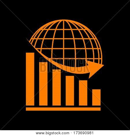 Declining graph with earth. Orange icon on black background. Old phosphor monitor. CRT.