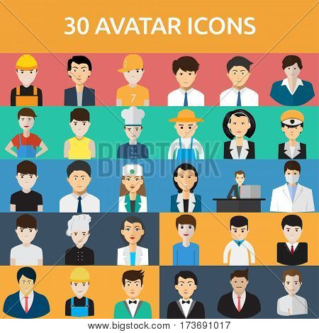 Avatar Icons Set | Set of great flat icons with style flat design and use for avatar, people, job, profession.