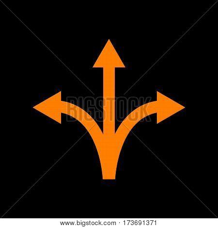 Three-way direction arrow sign. Orange icon on black background. Old phosphor monitor. CRT.