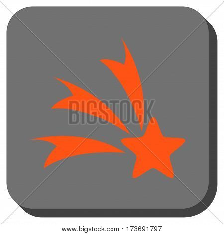 Falling Star toolbar button. Vector pictogram style is a flat symbol inside a rounded square button orange and gray colors.